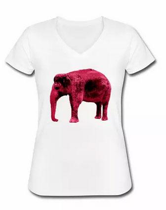 T-Shirt Frauen roter ELefant