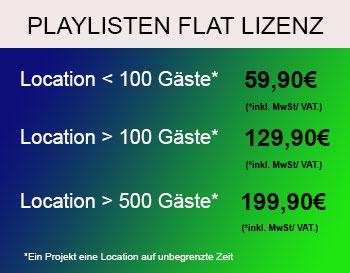 Playlist Flatrat Lizenz für GEMAFREIE Events ab 59,90€